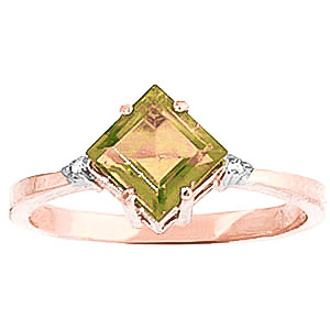 Peridot and Diamond Ring 1.75ct in 9ct Rose Gold