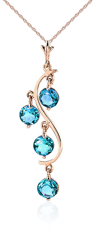 Image of Blue Topaz Dream Catcher Pendant Necklace 2.25ctw in 9ct Rose Gold