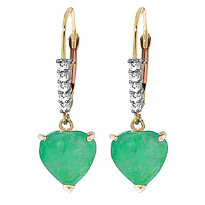 Green Diamond and Emerald Drop Earrings in 9ct Rose Gold
