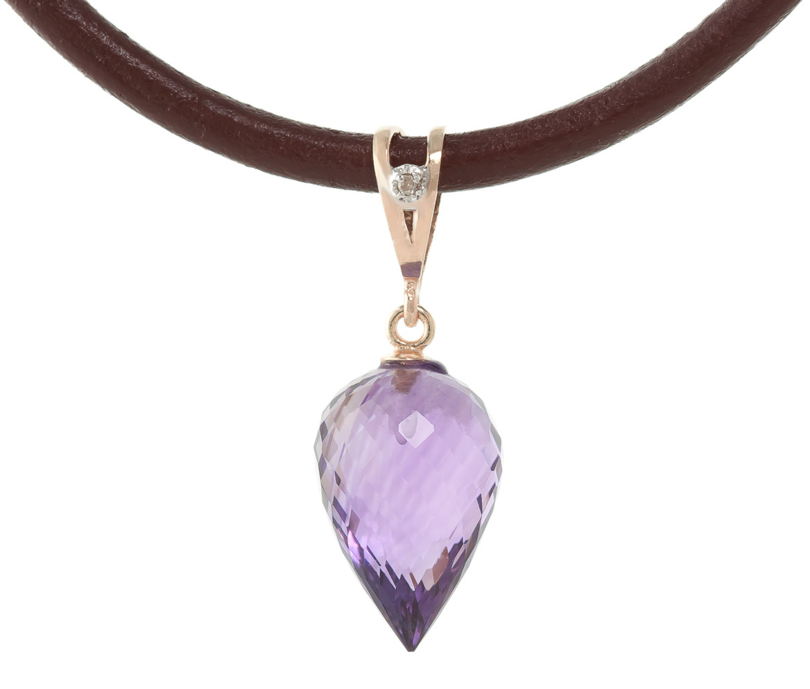 Amethyst and Diamond Leather Pendant Necklace 9.5ct in 9ct Rose Gold