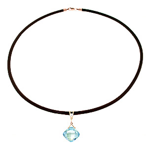 Blue Topaz and Diamond Leather Pendant Necklace 8.75ct in 9ct Rose Gold