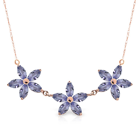 Marquise Cut Tanzanite Pendant Necklace 4.0ct in 9ct Rose Gold