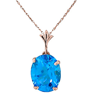 Oval Cut Blue Topaz Pendant Necklace 3.12ct in 9ct Rose Gold