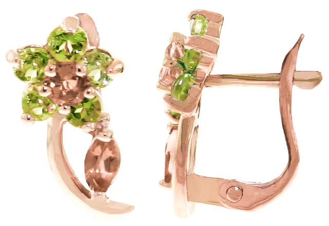 Citrine and Peridot Flower Stud Earrings 1.72ctw in 9ct Rose Gold