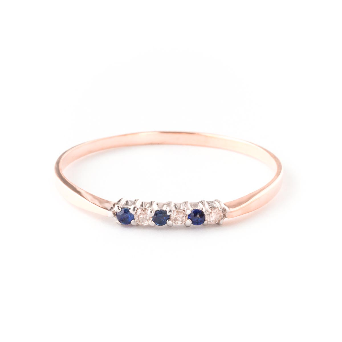 Diamond and Sapphire Ring in 9ct Rose Gold