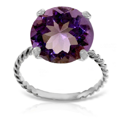 Round Cut Amethyst Ring 5.5 ct in 18ct White Gold