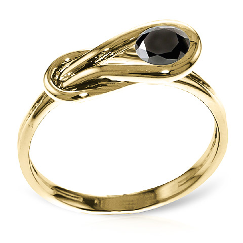 Round Cut Black Diamond Ring 0.5 ct in 9ct Gold