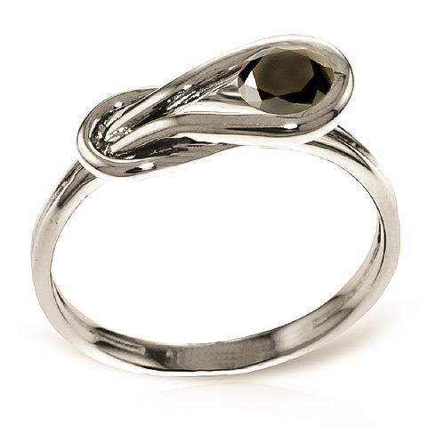 Round Cut Black Diamond Ring 0.5 ct in Sterling Silver