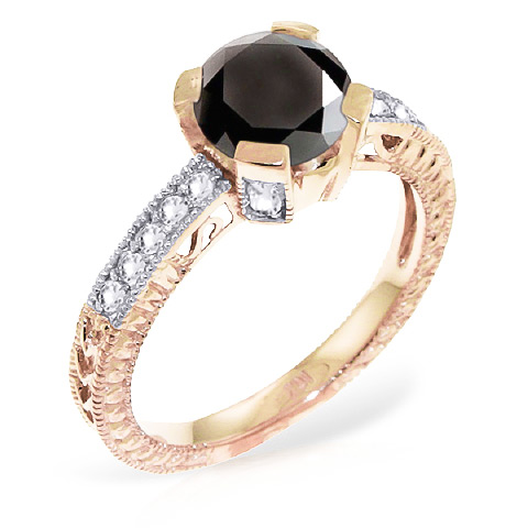 Round Cut Black Diamond Ring 1.3 ctw in 9ct Rose Gold