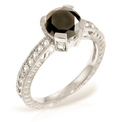 Round Cut Black Diamond Ring 1.3 ctw in Sterling Silver