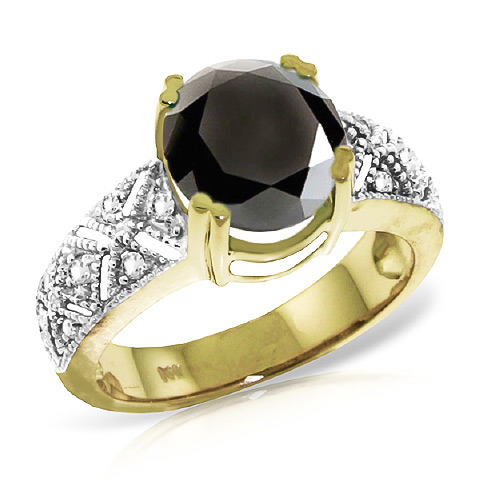 Round Cut Black Diamond Ring 3.7 ctw in 9ct Gold