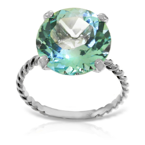 Round Cut Blue Topaz Ring 8 ct in 9ct White Gold