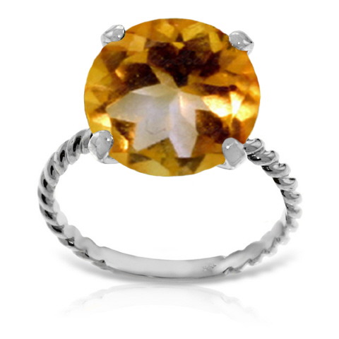 Round Cut Citrine Ring 5.5 ct in 18ct White Gold