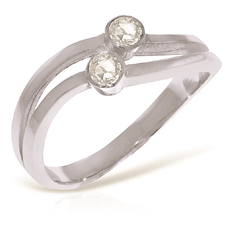 Round Cut Diamond Ring 0.2 ctw in 18ct White Gold