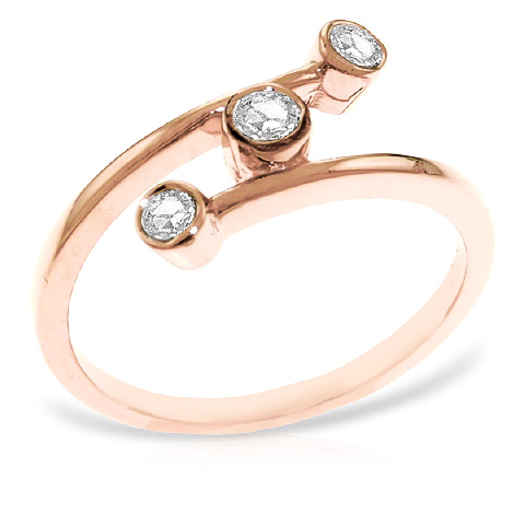 Round Cut Diamond Ring 0.3 ctw in 9ct Rose Gold