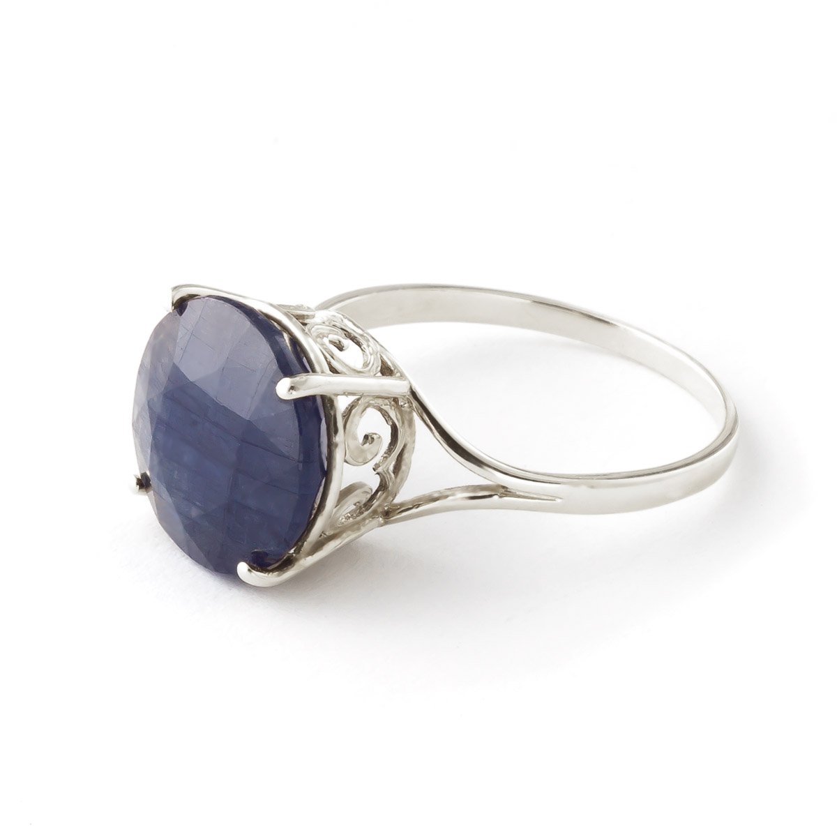Round Cut Sapphire Ring 9.5 ct in 18ct White Gold