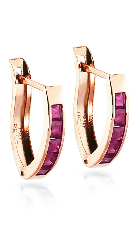 Ruby Acute Huggie Earrings 1.3 ctw in 9ct Rose Gold
