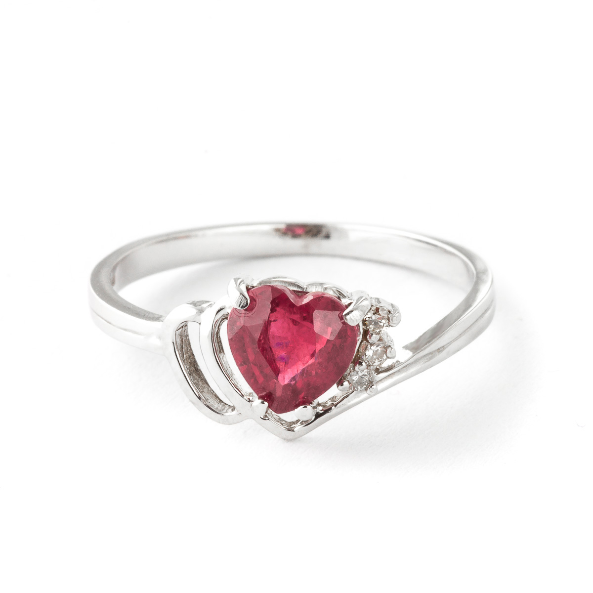 Ruby & Diamond Devotion Ring in 9ct White Gold