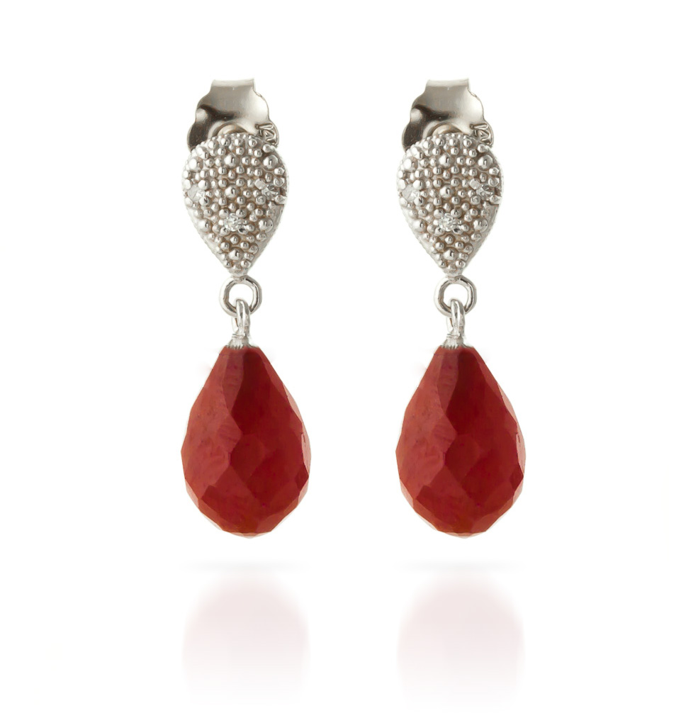 Ruby & Diamond Droplet Earrings in 9ct White Gold