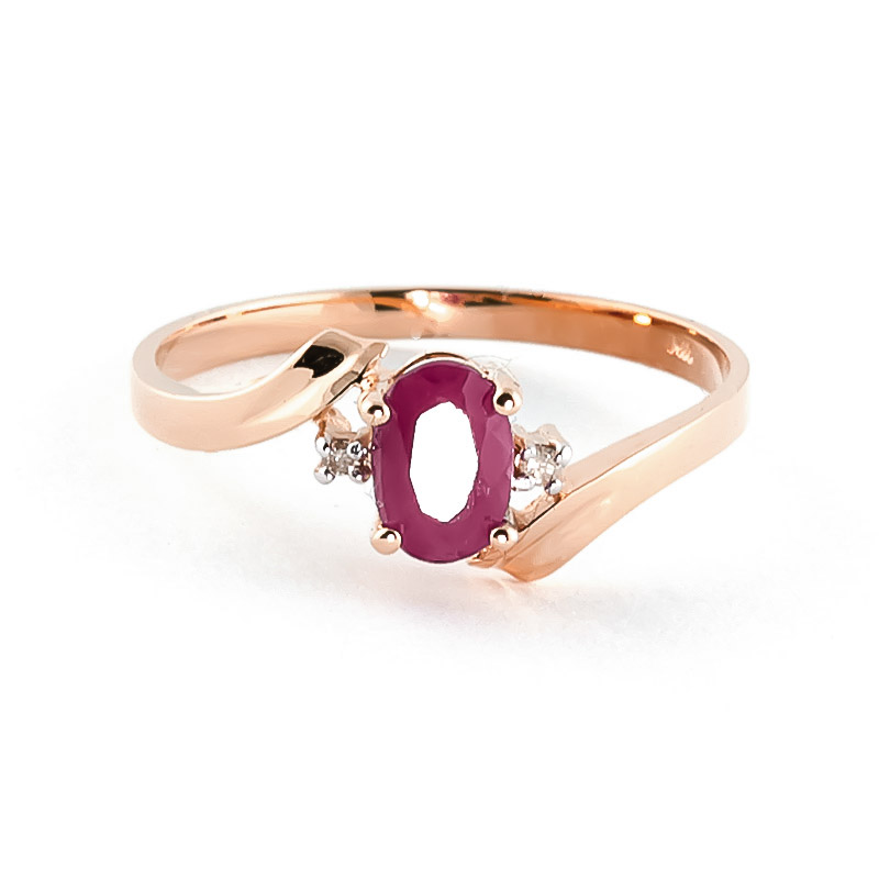 Ruby & Diamond Embrace Ring in 9ct Rose Gold