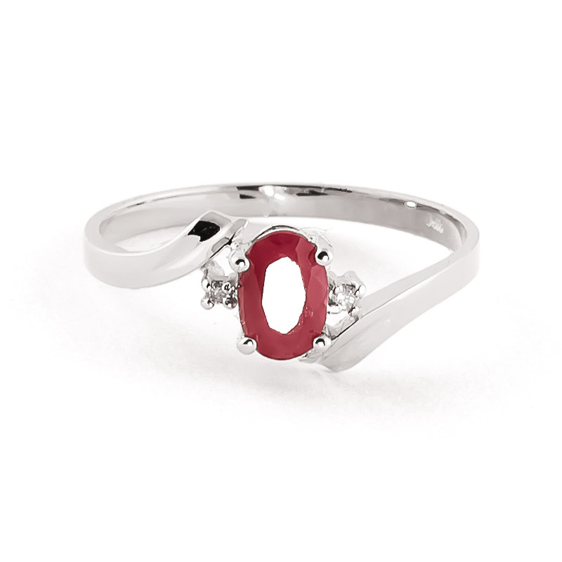 Ruby & Diamond Embrace Ring in 18ct White Gold