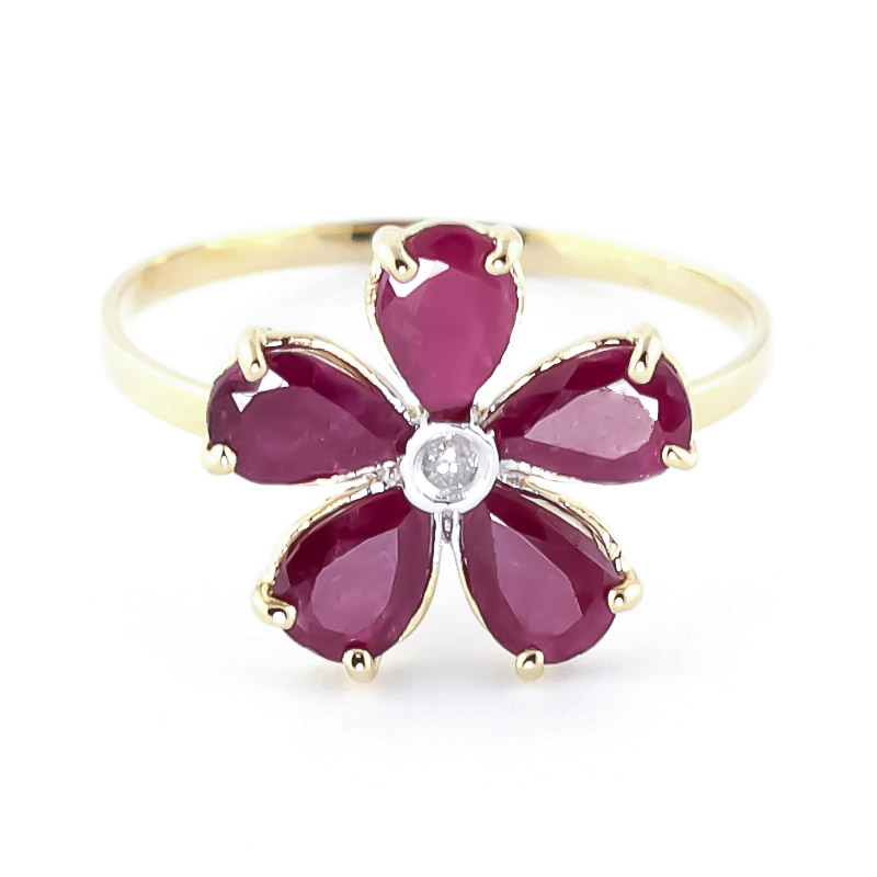 Ruby & Diamond Five Petal Ring in 9ct Gold