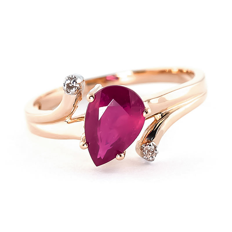 Ruby & Diamond Flank Ring in 9ct Rose Gold