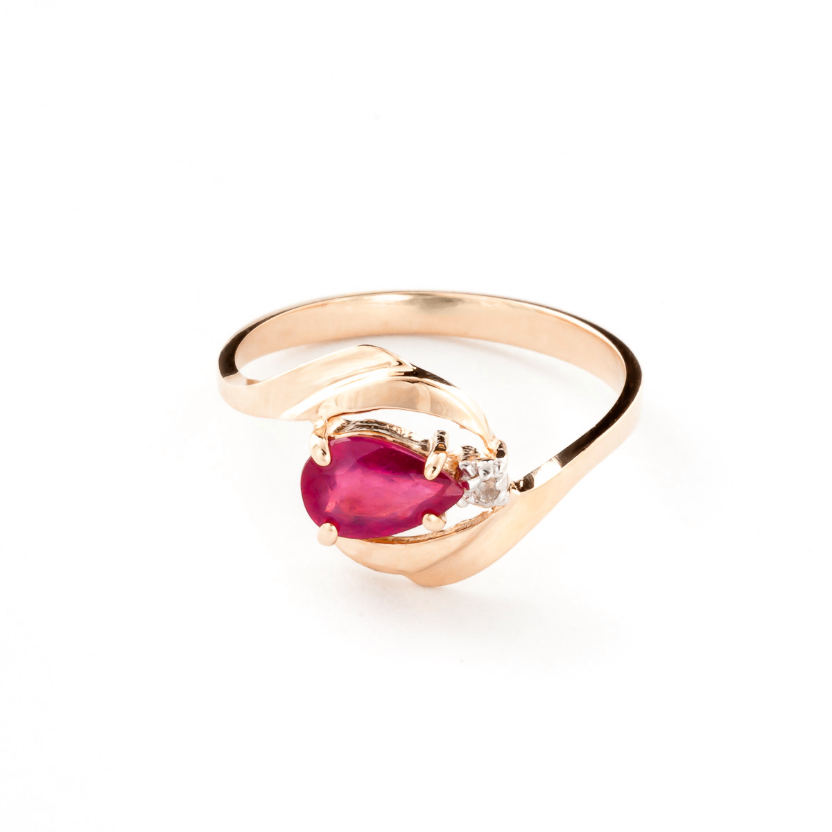 Ruby & Diamond Flare Ring in 9ct Rose Gold