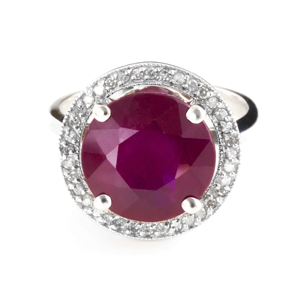 Ruby & Diamond Halo Ring in 9ct White Gold