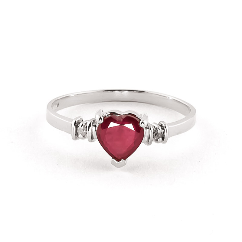 Ruby & Diamond Heart Ring in 18ct White Gold