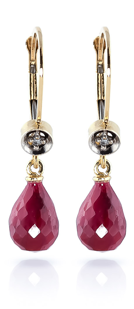 Ruby & Diamond Illusion Drop Earrings in 9ct Gold