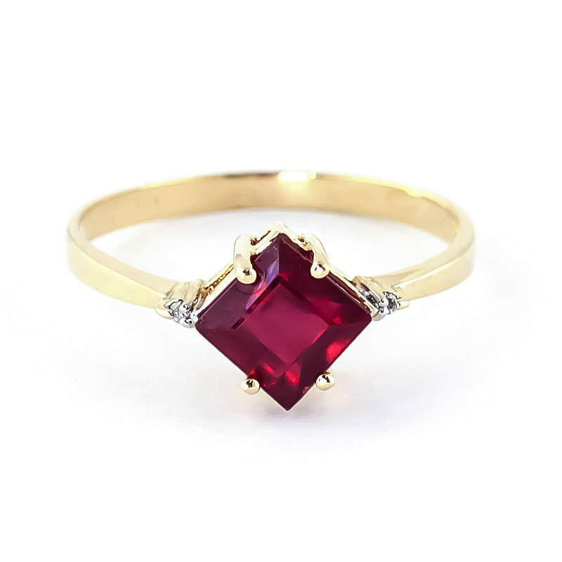 Ruby & Diamond Princess Ring in 9ct Gold