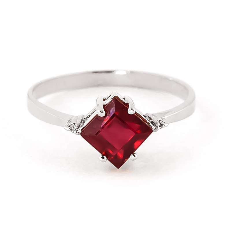 Ruby & Diamond Princess Ring in 9ct White Gold
