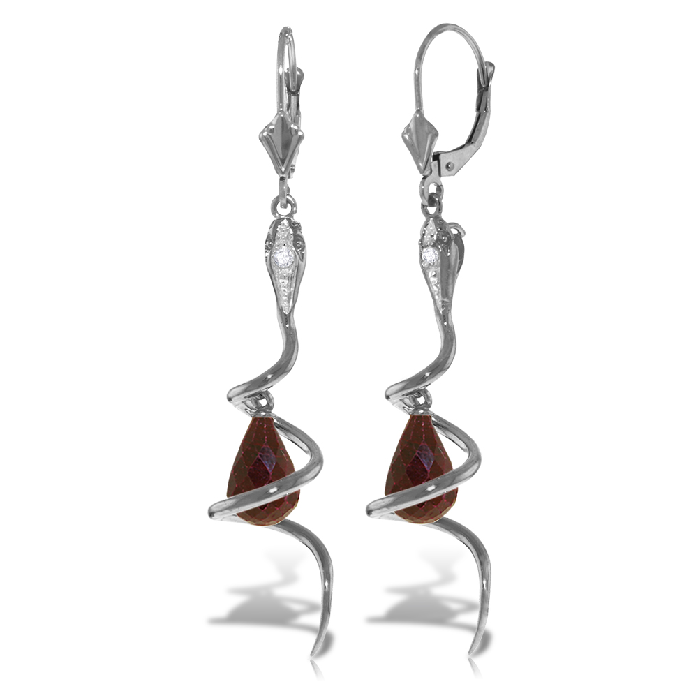 Ruby & Diamond Serpent Earrings in 9ct White Gold