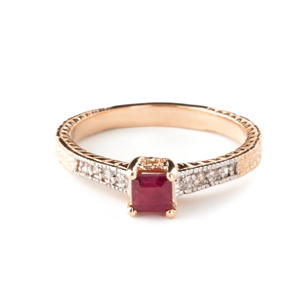 Ruby & Diamond Shoulder Set Ring in 9ct Rose Gold