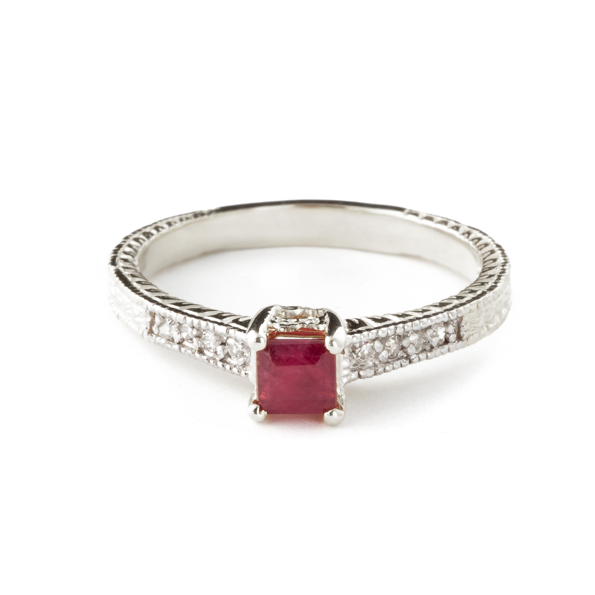 Ruby & Diamond Shoulder Set Ring in 18ct White Gold