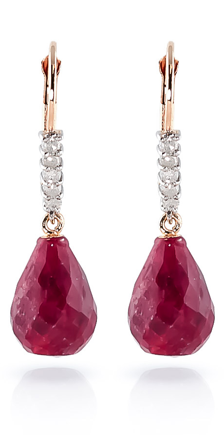 Ruby & Diamond Stem Drop Earrings in 9ct Rose Gold