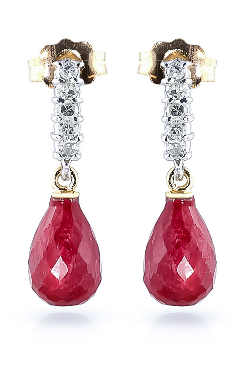 Ruby & Diamond Stem Droplet Earrings in 9ct Gold