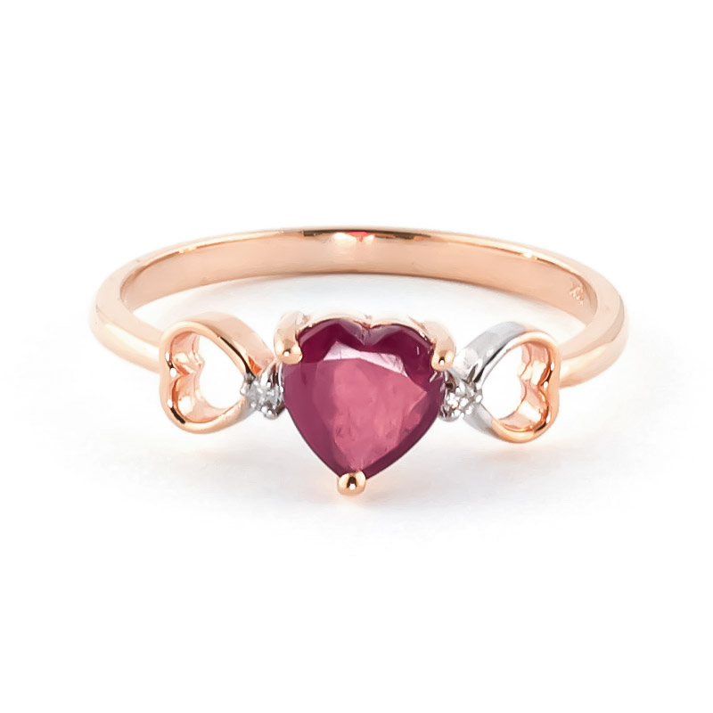 Ruby & Diamond Trinity Ring in 18ct Rose Gold