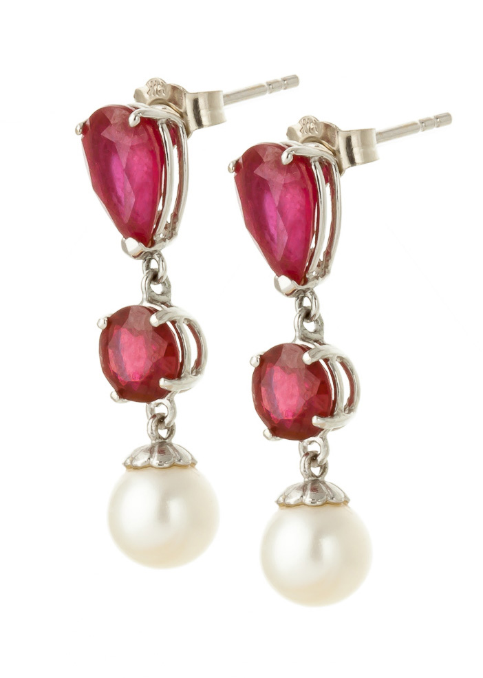Ruby & Pearl Droplet Earrings in 9ct White Gold