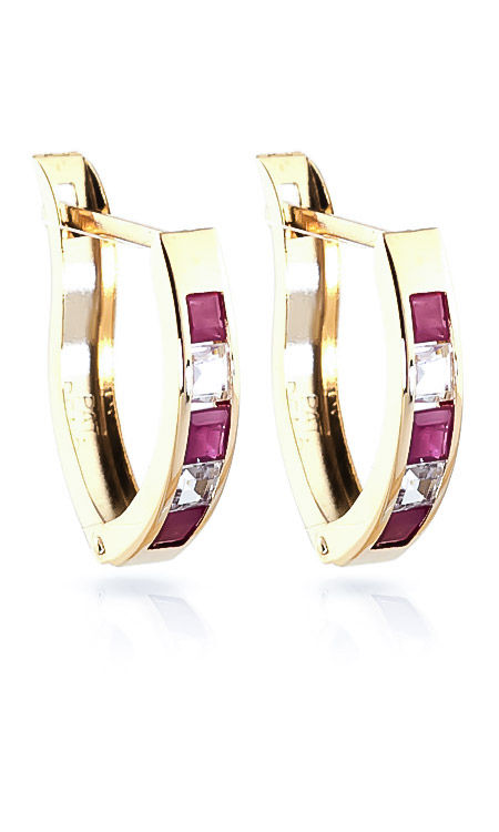 Ruby & White Topaz Acute Huggie Earrings in 9ct Gold