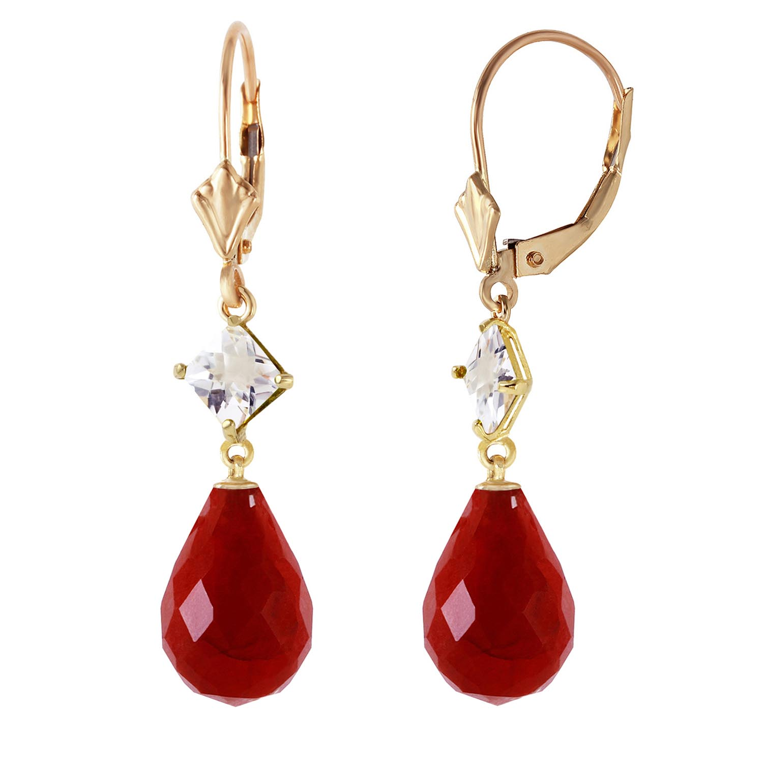 Ruby & White Topaz Drop Earrings in 9ct Gold