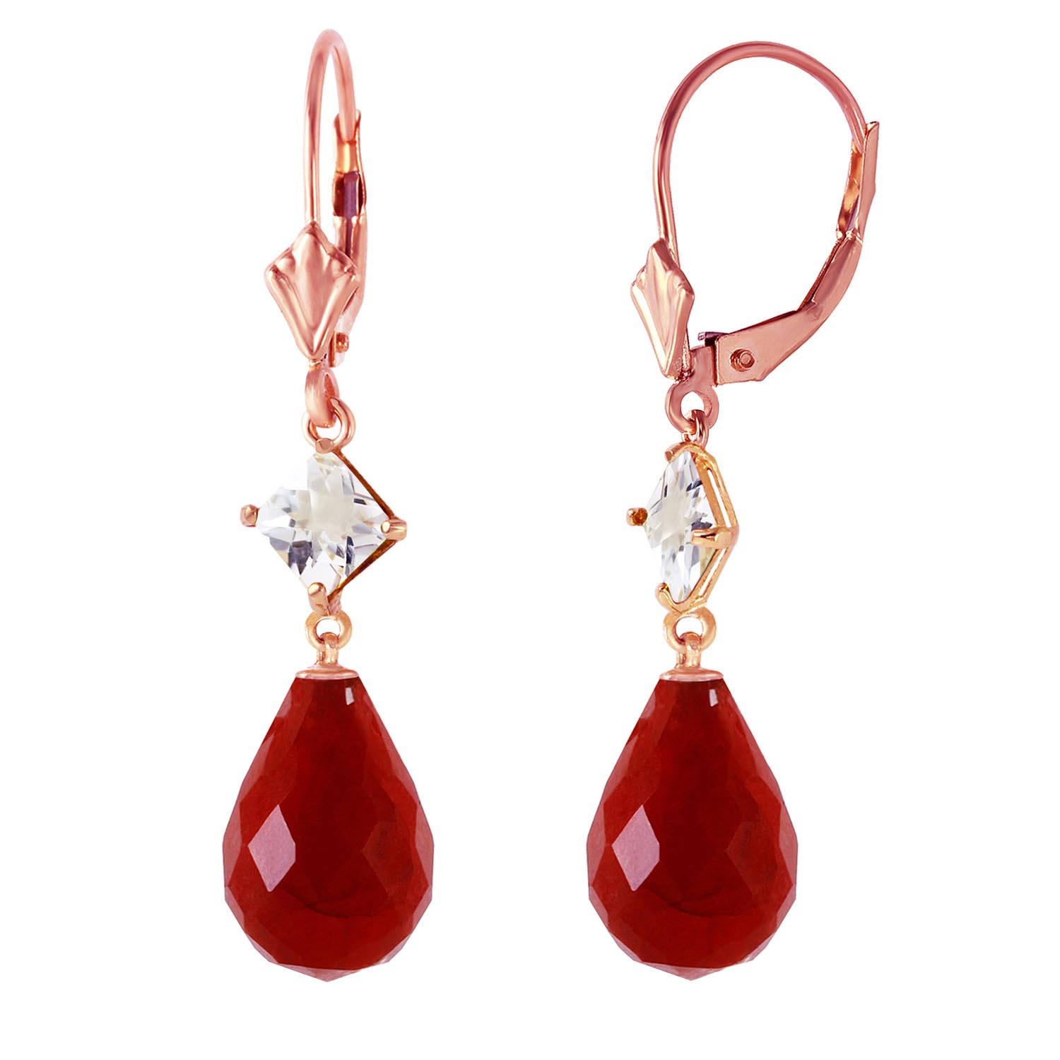 Ruby & White Topaz Drop Earrings in 9ct Rose Gold