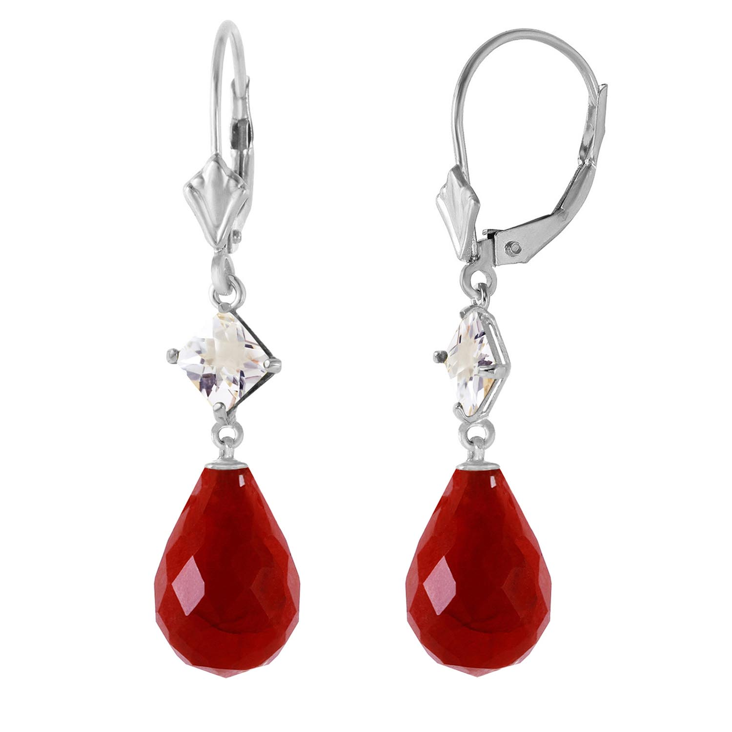 Ruby & White Topaz Drop Earrings in 9ct White Gold
