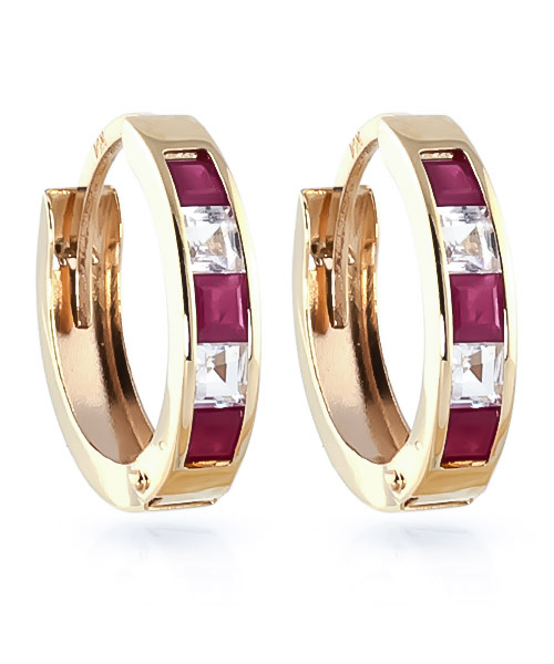 Ruby & White Topaz Huggie Earrings in 9ct Gold