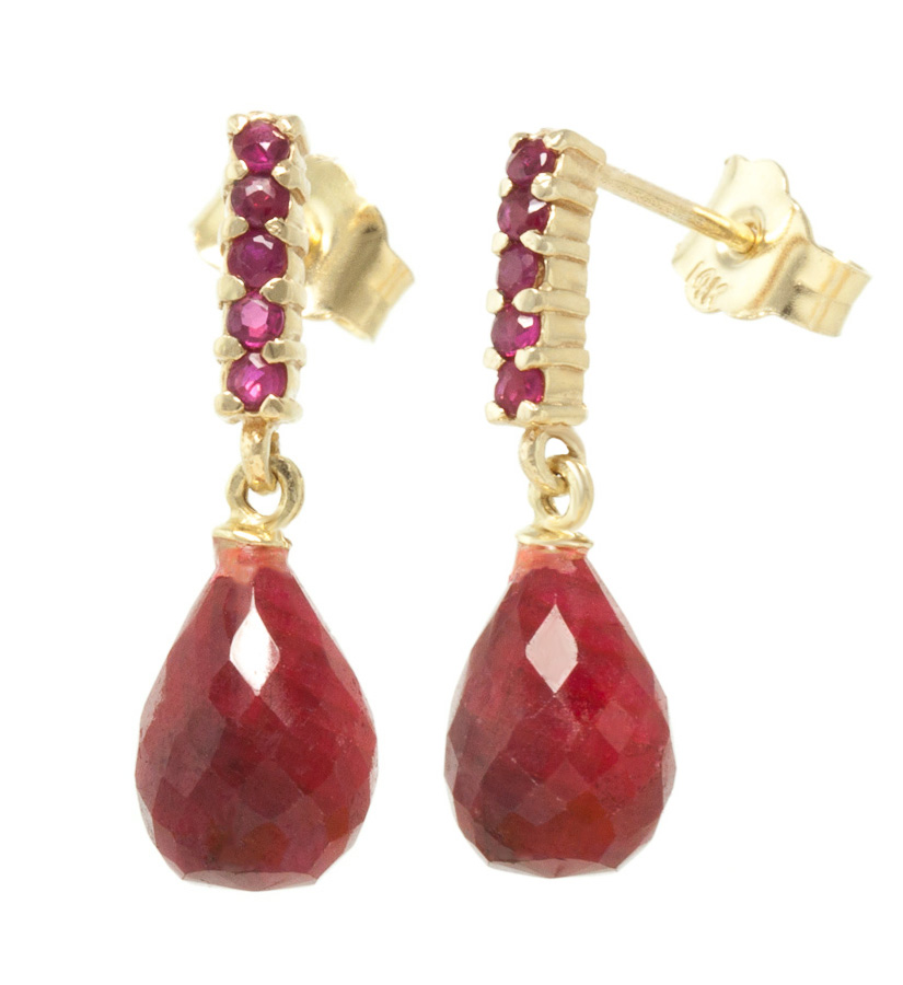 Ruby Briolette Stud Earrings 7 ctw in 9ct Gold