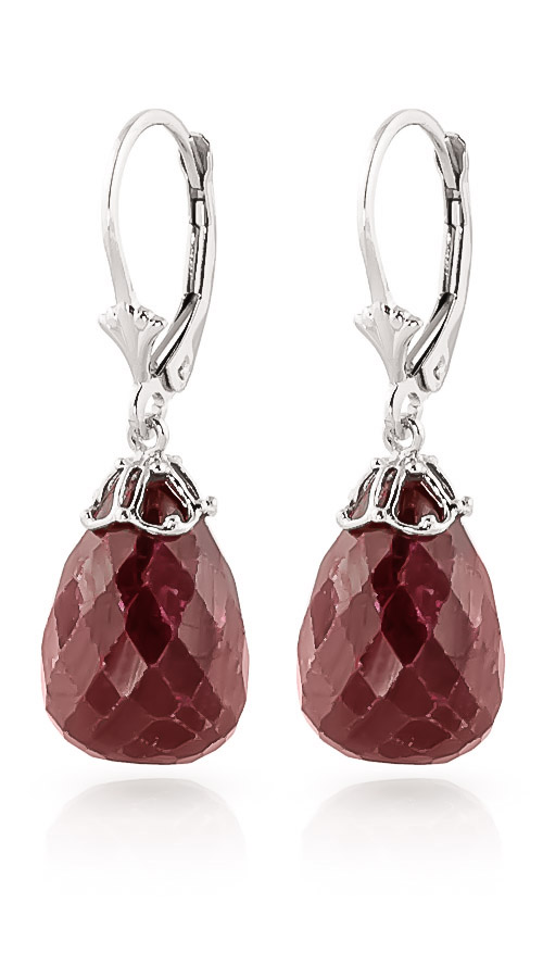 Ruby Crown Drop Earrings 29.6 ctw in 9ct White Gold