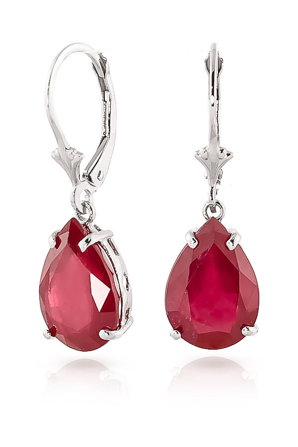 Ruby Drop Earrings 10 ctw in 9ct White Gold