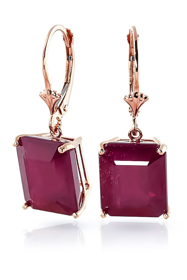 Ruby Drop Earrings 13 ctw in 9ct Rose Gold