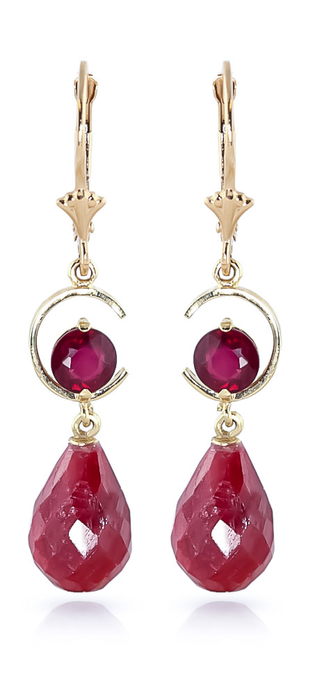 Ruby Drop Earrings 18.6 ctw in 9ct Gold